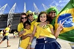 FORTALEZA, BRAZIL - JULY 4: Fans arrive at Arena Castelao stadium for the Brazil v Colombia: Quarter Final - match during the 2014 FIFA World Cup Brazil on July 4, 2014 in Fortaleza, Brazil. (Photo by Drawlio Joca/Getty Images)