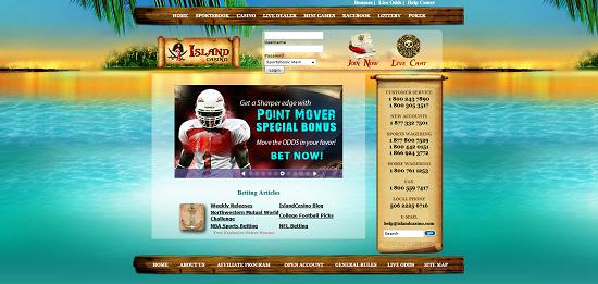 Ставки в букмекерской конторе Island Casino